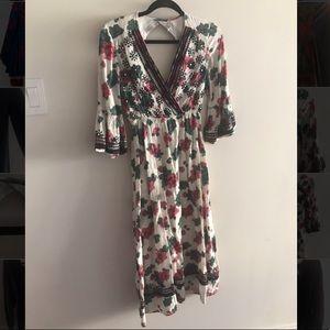 Free People floral print & tribal trim long dress